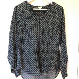 Cute navy print jcrew blouse
